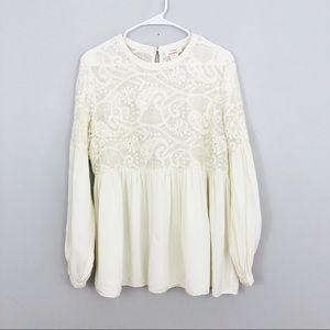 Sundance Cream Silk & Linen Blouse Size Large